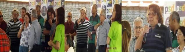 Os pré-candidatos a deputado estadual pelo partido Rosely Moraes, Giácomo Costanti e Marcos Eduardo Andrade