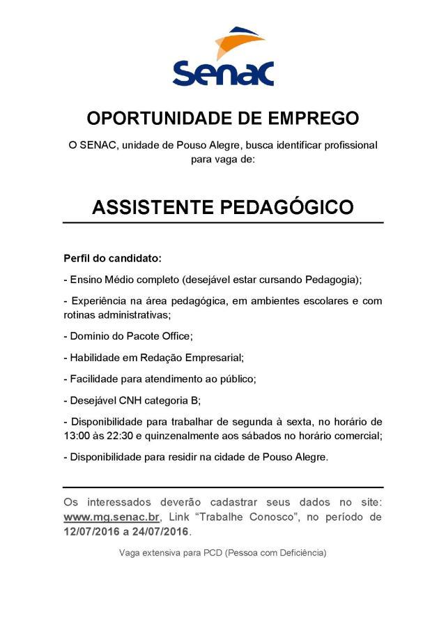 Anúncio Pouso Alegre Assitente Pedagogico