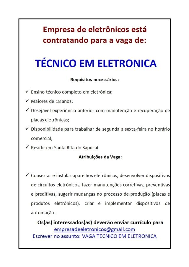 VAGA TECNICO ELETRONICA - confidencial